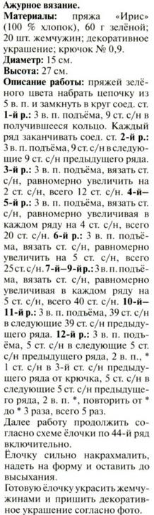 Вязанная елочка схема