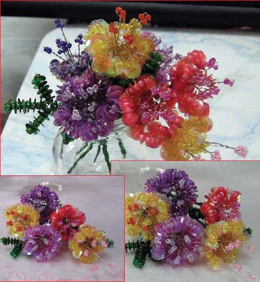 Цветы из пайеток и бисера.