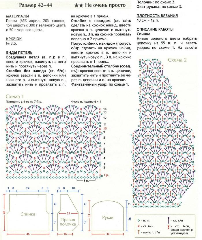 Болеро крючком схема