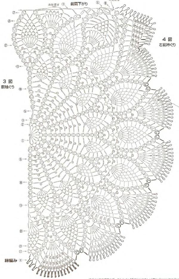 шали полукруглые схемы вязанные