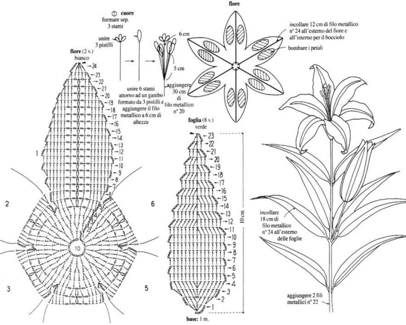 вязаные цветы крючком схему
