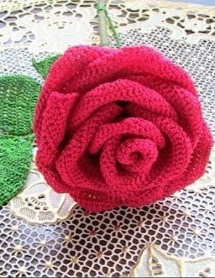 Роза крючком