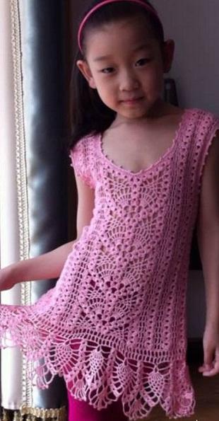 Ажурное платье для девочки крючком