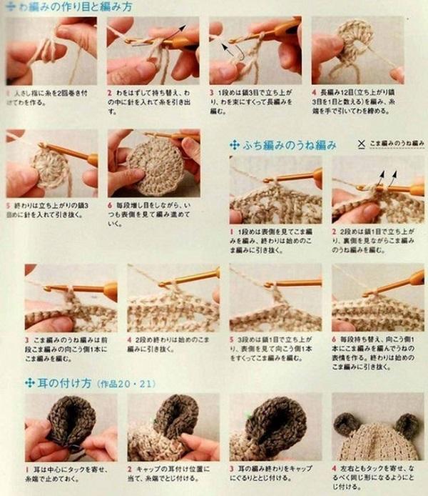 вязание шапки с ушками крючком схемы