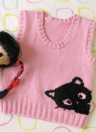 Узор для детского жилета спицами