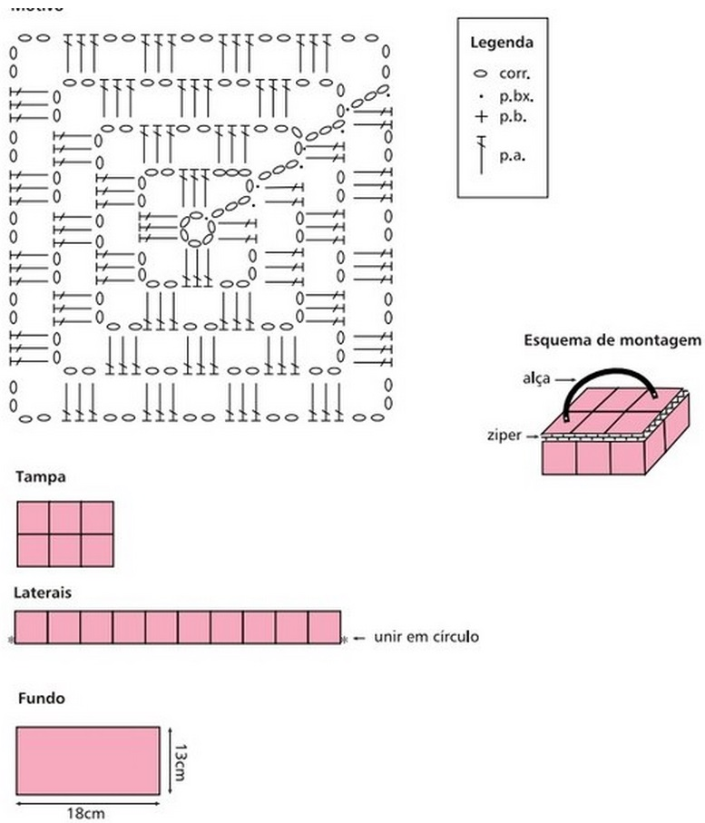 Схема вязания косметички