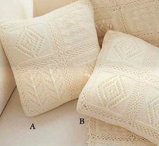 Плед и подушки спицами