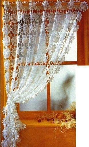 Схема вязания шторы крючком .