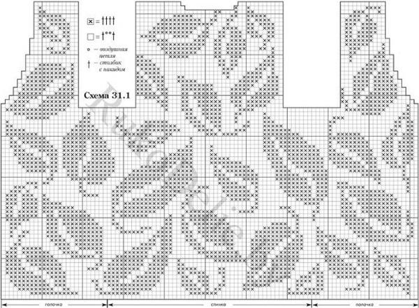 узоры листья филейным кружевом