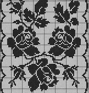Розы филейным узором