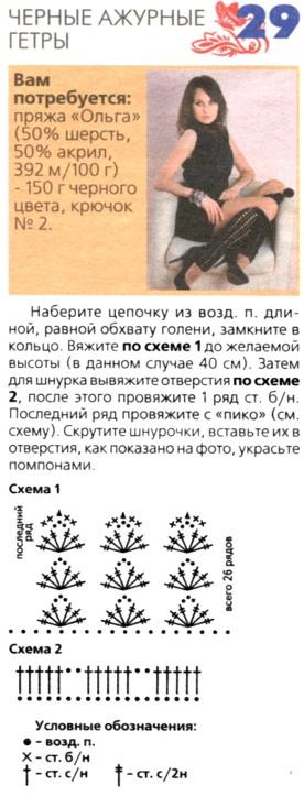 Описание вязания гетры спицами с описанием 347