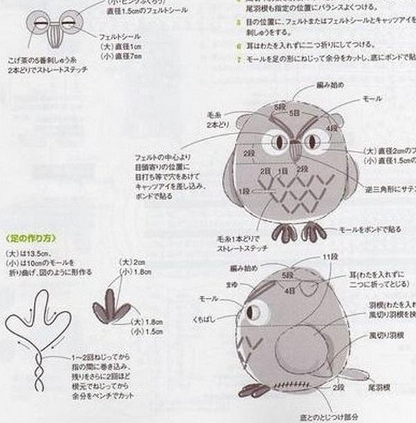 Схема вязания совы крючком.