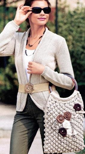 Вязаные жакет и сумка