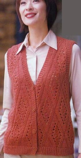 Схема вязания жилета спицами .