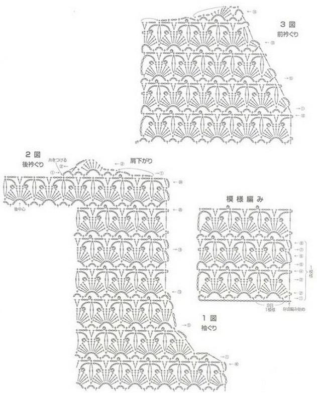 Вязание крючком рисунки для кардиганов