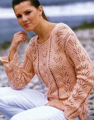 Вязание спицы - ажурная кофточка