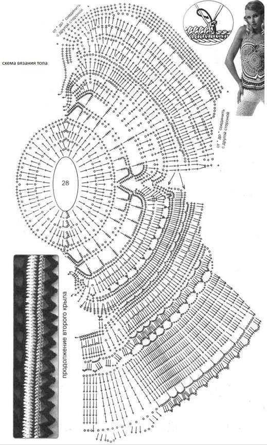 Схема вязания топа-кпальника