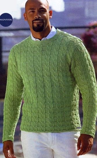 Связать мужской пуловер спицами