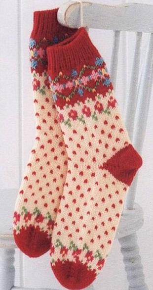 Схема вязания носок спицами .