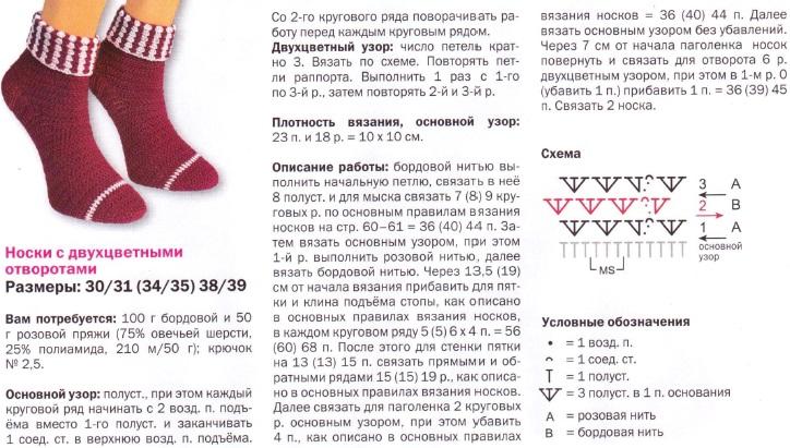 Вязание спицами носки с подробным описанием