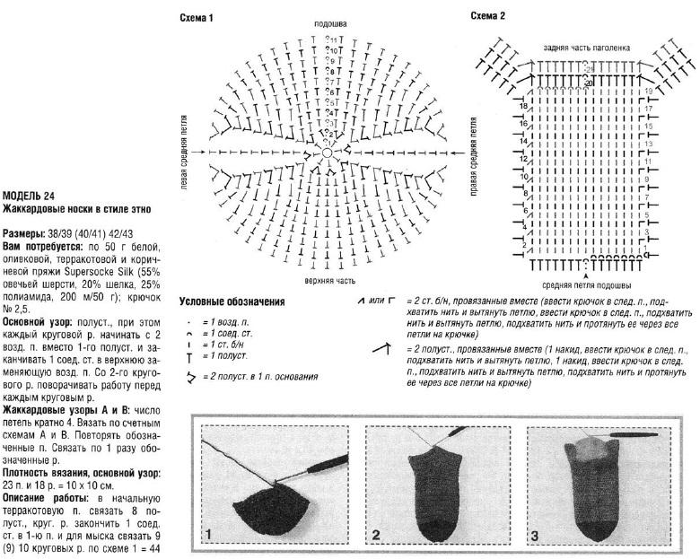 Носки крючком схема и описание