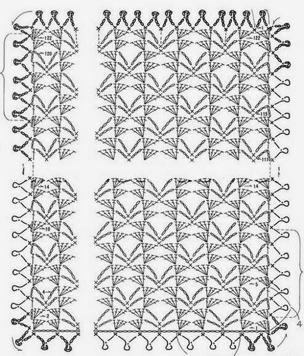 Узор вязание крючком палантин 809