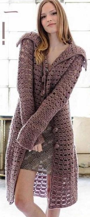 Стильное пальто крючком