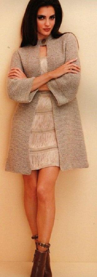 Вязать пальто спицами
