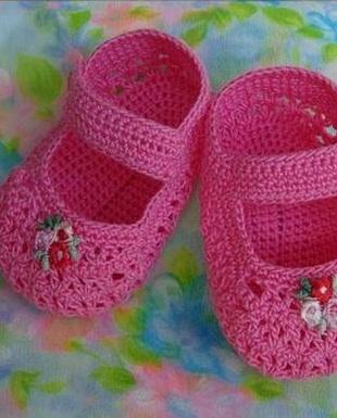 Вязаные пинетки-туфельки