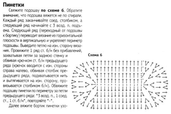 Пинетки крючком схема