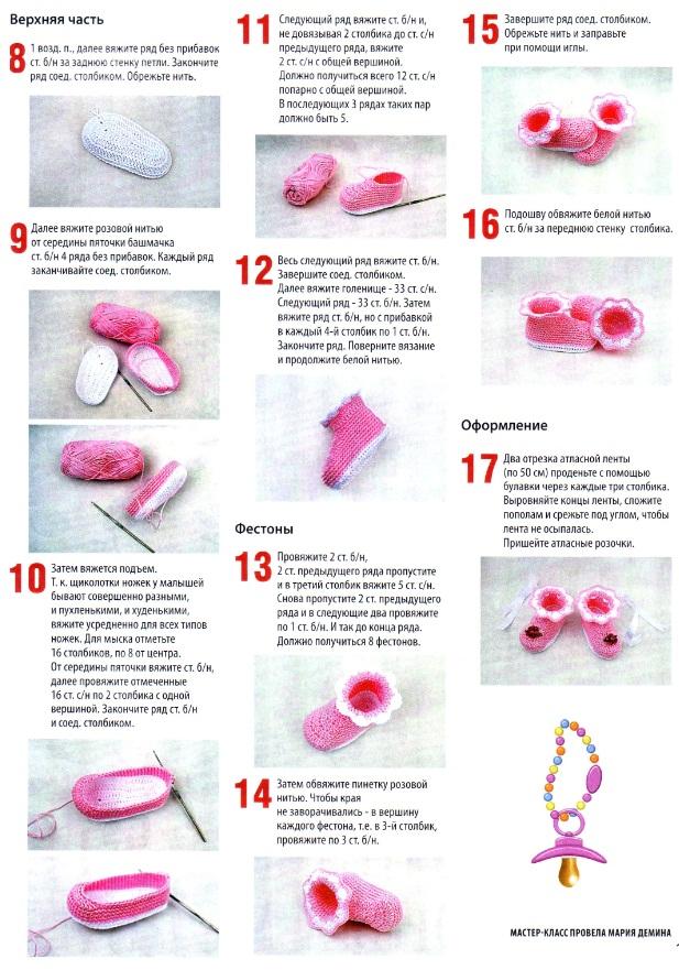 Как связать пинетки крючком для новорожденной схема
