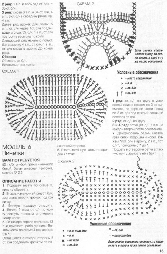 Вязание пинеток крючком схема