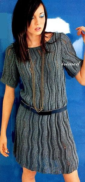 Схема вязания платья спицами .