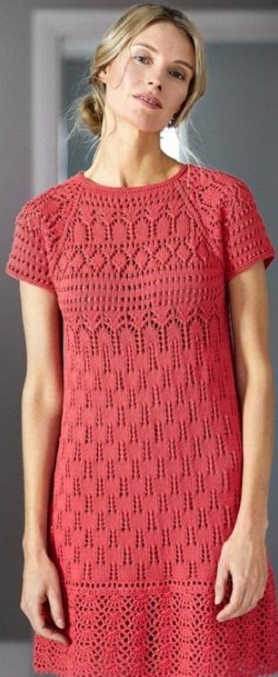 Красное платье спицами