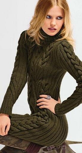 вяжем крючком теплое платье схема