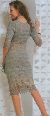 Платье в филейном вязании. 34077