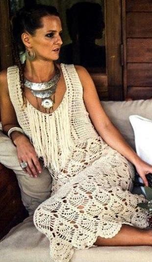 Платье в бохо стиле крючком