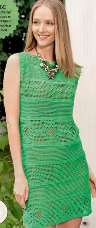 Вязание филейного платья