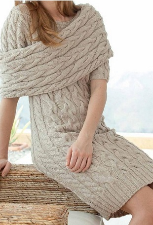 Платье с узором из кос