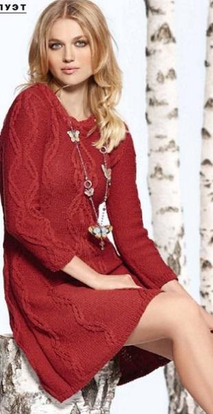 Вязание платья с косами