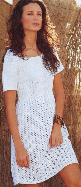 Платье спицами, схема вязания