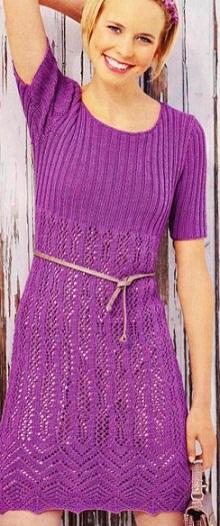 Вязаное платье-туника спицами. Вязаные платья спицами схемы