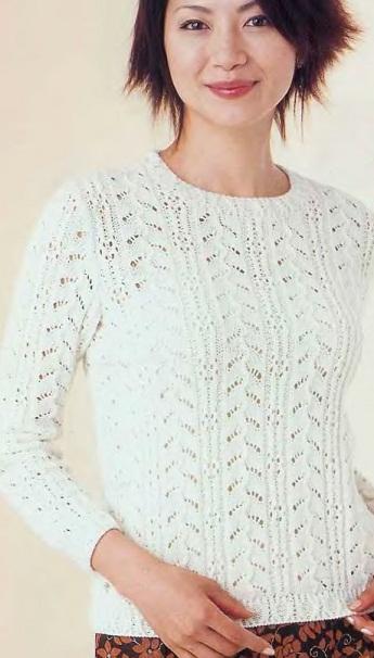 Вязание белого пуловера спицами