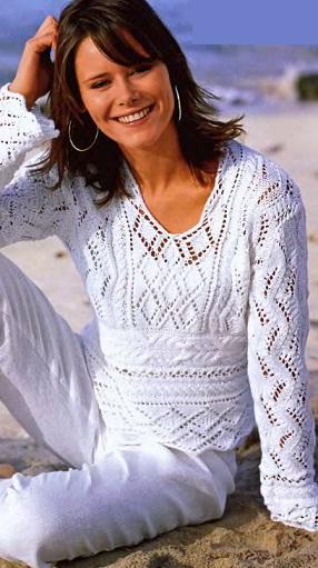 Ажурный пуловер спицами -
