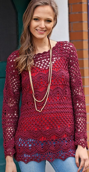 Вязание кружевного пуловера крючком
