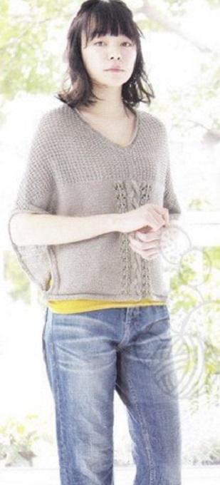 Схема модного пуловера спицами