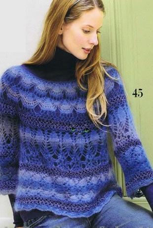 Вязание ажурного пуловера крючком