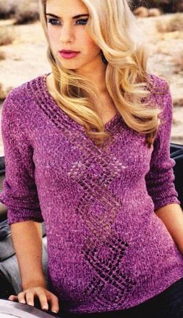 Вязанный пуловер спицами