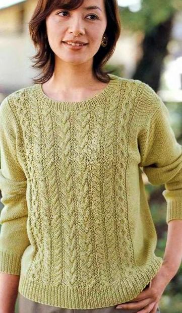 Светло-зеленый пуловер спицами