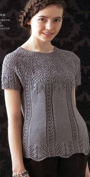 Вязание пуловера с круглой кокеткой